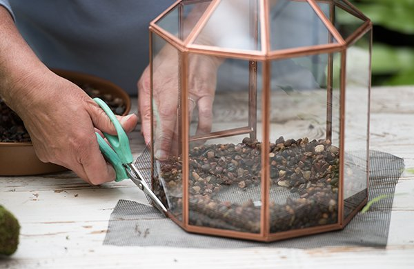 Cutting a screen to keep gravel free of soil