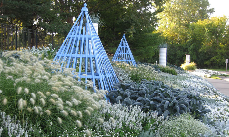 blue-themed garden